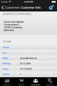 ShopReporter Admin Customer Info