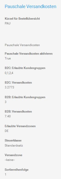 Pauschale Versandkosten (flat) für B2C und B2B