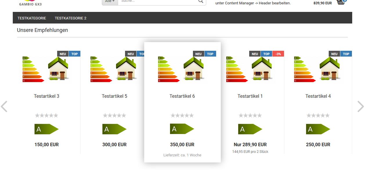 Energieeffizienzklassen auf der Startseite