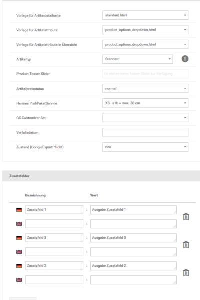 Artikelstammdaten, erweiterte Konfiguration und Zusatzfelder